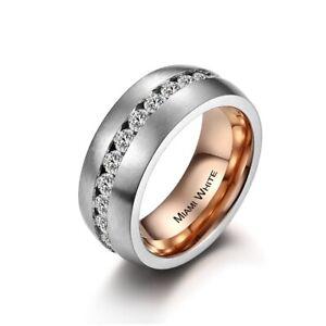 MIAMI WHITE Ring DIANA Edelstahl silbern/rosé mattiert