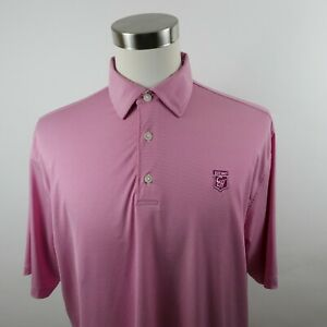FootJoy Mens Stretch Polyester SS Red White Striped Golf Polo Shirt XL CCH Logo