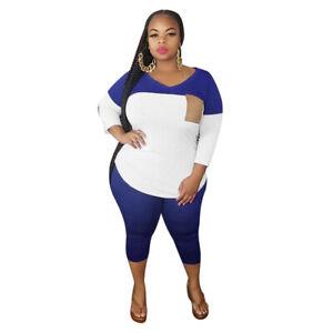 Plus Size Women Colors Patchwork V Neck Casual Club Party Pants Set Two Piece