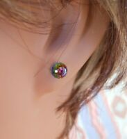 Faceted Ball HYPOALLERGENIC Stud Earrings Swarovski Elements in Vitrail Color
