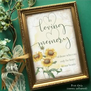 Memory Sign Wedding Table Reception Decoration Remembrance Yellow Sunflower