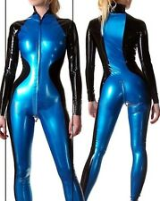 Latex Rubber Catsuit Black and Navy blue Catsuit Full-body Suit Size:XS-XXL