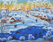WINTER FUN by Maria PODVERBNAYA RUSSIAN PRIMITIVE Oil Painting Original NAIVE