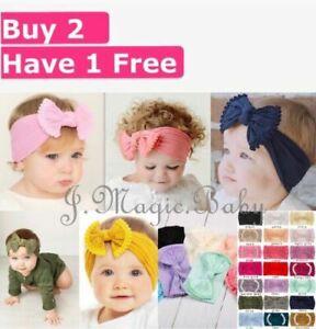 Baby Tie Bow Pom Pom Head Wrap Turban Top Knot Headband Newborn Girl Accessories