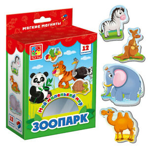 Zoo Little World Soft Magnets for Kids, 2+, Pets, Animals, on Russian Language