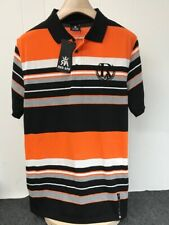 Red Ape Authentic Men's Black Orange Grey Embroidered Striped Polo Shirt M A12