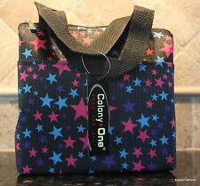 Lunch Tote Insulated Stars Pink Blue Pocket Front Designer Sturdy Travel Bag