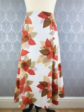 Vintage Style Retro Size 16 Skirt Cream Orange Floral Flower Power Hippy Summer