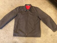 Vtg 60s 70s Brown Work Jacket Greaser Size M Long Scovill Zips Red Lining