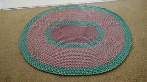 """Vintage Antique Hand Handmade Braided Rug 48"""" x 61"""" Oval Multi Color #10"""