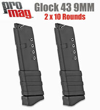 Glock 43 9MM Magazine Mag Clip Extended 10 Round By Promag  2 Pack SAVE!
