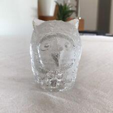 Vintage MID CENTURY PUKEBERG SWEDEN ART GLASS OWL Figurine Paperweight 8.5cm