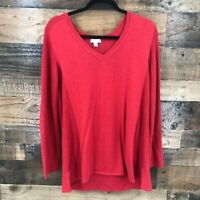 J. Jill Women's Red Vneck Ribbed Knit Cotton Viscose Blend Pullover Sweater PXL