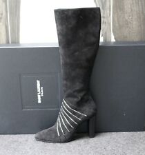 c67779970b2 NIB YSL Saint Laurent LILY Black Suede Crystals Knee High Tall Boots Shoes  38