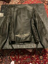 Harley distress leather Jacket-Vest detachable sleeves men xl used two time!