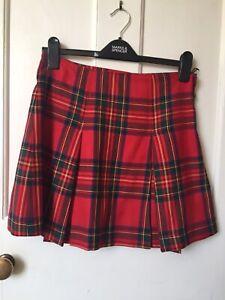 Red Tartan Mini Skirt (Size 8-10)