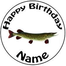 """Personalizado Pesca Lucio Pescado Redondo 8"""" Glaseado Cumpleaños Pastel Topper-fácil precortada"""