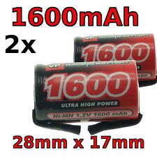 Reemplazo de la batería de cepillo de dientes 2x 28mm X 17mm 2/3A 1.2v 1600mAh Braun Oral-B