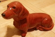 Dachshund Dog Figurine Weiner Dog Brown Glossy Finish 7""