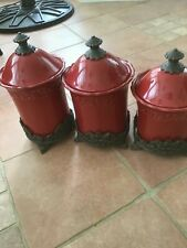 JCPenney Chris Madden  Canister Set   Of 3 Red