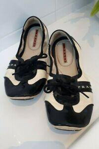 'Prada' Women's Black & White Elasticized Laced Flats Sz 38.5 Ready to Go!!