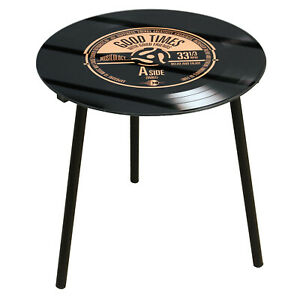 40cm Musicology Retro Record Theme Side End Table Desk Good Time Home Furniture