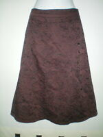 SIZE 10 BROWN SKIRT WITH BLACK FLORAL EMBROIDERY BY OASIS  CLASSIC STYLE VGC