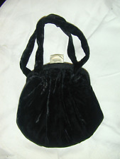 Lovely Small Black Vintage Velvet Purse With Lucite Clasp