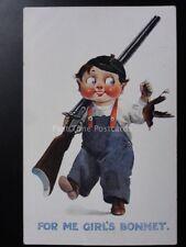 American Kiddies: Boy with Shotgun & Robin Theme FOR ME GIRL'S BONNET c1915