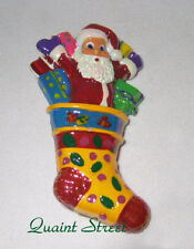 PREMIER DESIGNS Santa's Stocking Pin Christmas Presents Colorful Brooch NEW