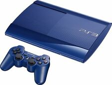 Genuine SONY Playstation 3 Super Slim 500GB Blue Console Bundle VGWC + Warranty!