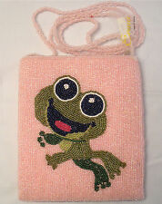 "ERMO WOMEN'S BEAUTIFUL HAND BEADED FRONT AND BACK PASSPORT PURSE ""CUTIE FROG"""