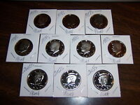 1973s-2005s KENNEDY PROOF HALF DOLLARS-10 COIN LOT-DATES LISTED-NO DUPLICATES-