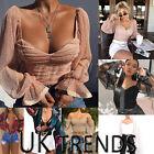 UK Women Floral Print Tuxedo Lace Bodysuits Wrap Over Shirt Blouse Crop Top