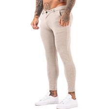 GINGTTO Men Skinny Fit Stretch Chino Trousers Slim Flat Front Spandex Khaki Pant