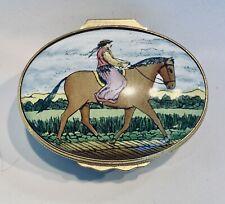 Halcyon Days English Enamel Trinket Box Lady Horse Rider