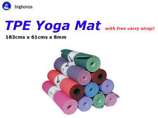 TPE Yoga Mat Exercise Fitness Gym Pilates Eco Friendly Non Slip Dual Layer