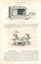 Appareil Enregistreur Baromètre Thermomètre Hygromètre météorologie GRAVURE 1886