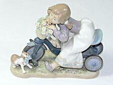 Lladro In No Hurry Figurine 5679 Girl Cat Bike