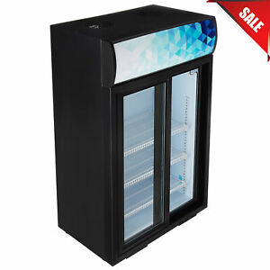 COUNTERTOP Display Refrigerator With Sliding Door And Merchandising Panel Black