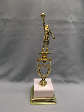 male basketball die cast trophy weighted white block base gold trim