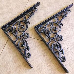 "Vintage Wrought Iron Wall Mount Shelf Metal Bracket Support Decorative 8.4""x8.4"""