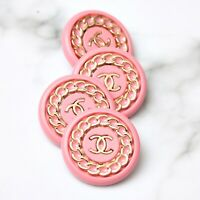 Chanel Buttons 4pc CC Pink & Gold Chain 22.5mm 4 Buttons unstamped AUTH!!!
