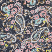Indigo Niagara Paisley Pattern Print on Solid Hi-Multi ChiffoN Washed Fabric