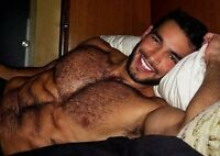 Shirtless Male Beefcake Muscular Hunk Hairy Chest Beard Handsome PHOTO 4X6 D344