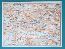 """NORWAY Jotunheimen Range Bygdin Lake - 1912 Baedeker Map 6 x 8"""" (15,5 x 20 cm)"""