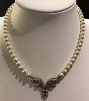 Vintage Faux Pearl Necklace Silver Gilt Necklace