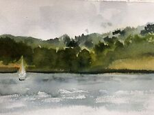 Abstract Impressionist Landscape Original Watercolor Painting Sailboat Plein Air