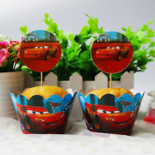 24pcs Cars Disney Cupcake Toppers Child Kids Birthday Party Decoration Muffins