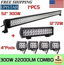"52INCH LED LIGHT BAR + 12"" + 4"" CREE WORK PODS SUV OFF ROAD JEEP TRUCK FORD RZR"